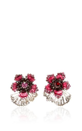 Pink Crystal Flower Earrings With Garnets by RANJANA KHAN for Preorder on Moda Operandi