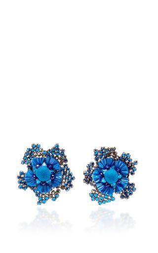 Blue Crystal Flower Earrings by RANJANA KHAN for Preorder on Moda Operandi