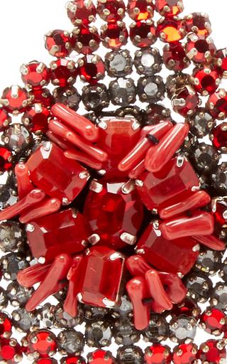 Red Crystal Flower Earrings by RANJANA KHAN for Preorder on Moda Operandi