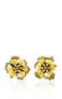 Yellow Crystal Flower Earrings by RANJANA KHAN for Preorder on Moda Operandi