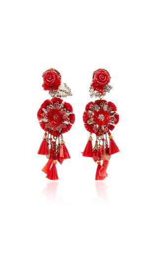 Red Rop Flower Earrings With Tassels by RANJANA KHAN for Preorder on Moda Operandi