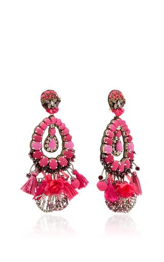 Pink Tear Drop Earrings With Tassels by RANJANA KHAN for Preorder on Moda Operandi