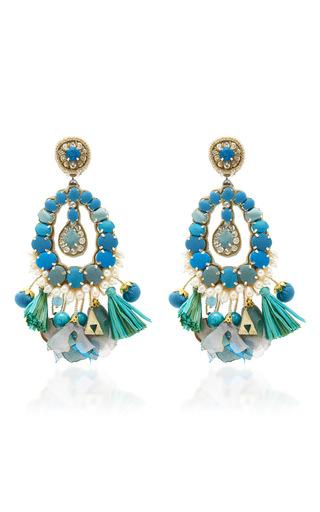 Medium ranjana khan blue blue tear drop earrings with tassels