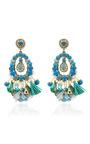 Blue Tear Drop Earrings With Tassels by RANJANA KHAN for Preorder on Moda Operandi