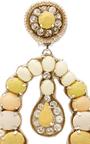Yellow Tear Drop Earrings With Tassels by RANJANA KHAN for Preorder on Moda Operandi