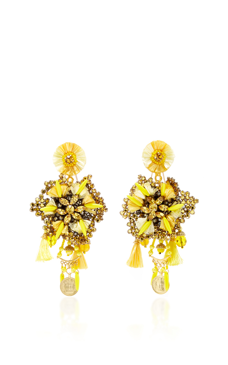 Yellow Flower Earrings With Vintage Coin Drops By Ranjana Khan