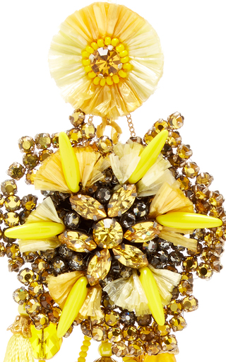 Yellow Flower Earrings With Vintage Coin Drops by RANJANA KHAN for Preorder on Moda Operandi