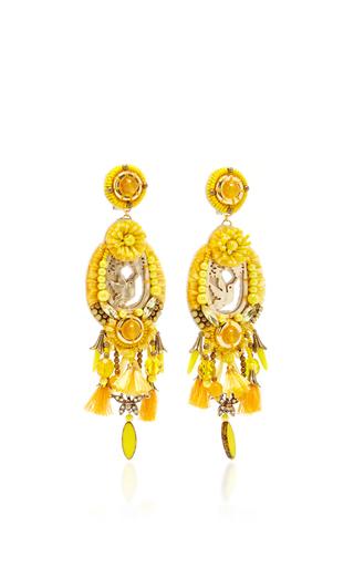 Yellow Tassel Earrings by RANJANA KHAN for Preorder on Moda Operandi