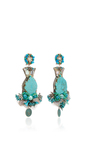 Turquoise Butterfly Earrings by RANJANA KHAN for Preorder on Moda Operandi