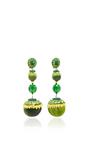 Green Triple Drop Earrings by RANJANA KHAN for Preorder on Moda Operandi