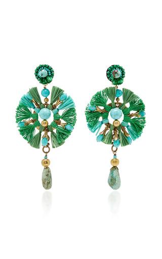 Green Fan Earrings by RANJANA KHAN for Preorder on Moda Operandi
