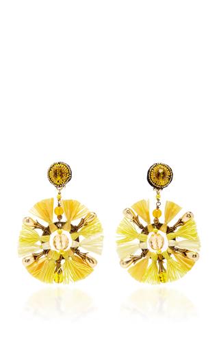 Yellow Fan Earrings by RANJANA KHAN for Preorder on Moda Operandi