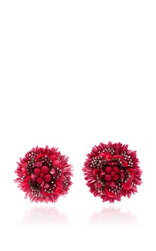 Red Pom Pom Flower Earrings by RANJANA KHAN for Preorder on Moda Operandi