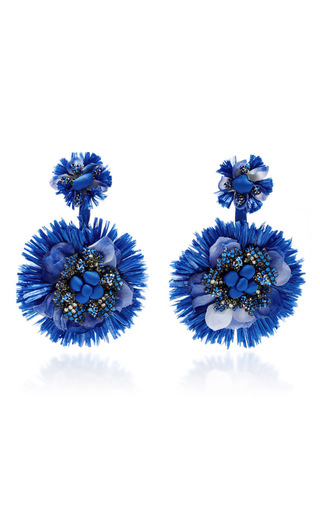 Medium ranjana khan blue blue drop flower fan earrings