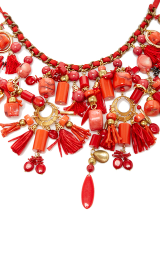 Red Pom Pom Fan Necklace by RANJANA KHAN for Preorder on Moda Operandi