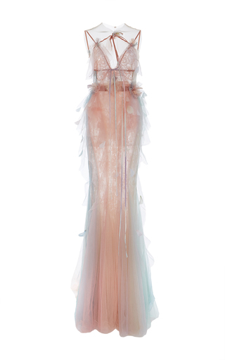 Medium marchesa nude fit and flare halter neck gown