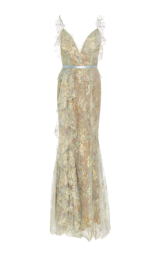 Medium marchesa green iridescent lace gown