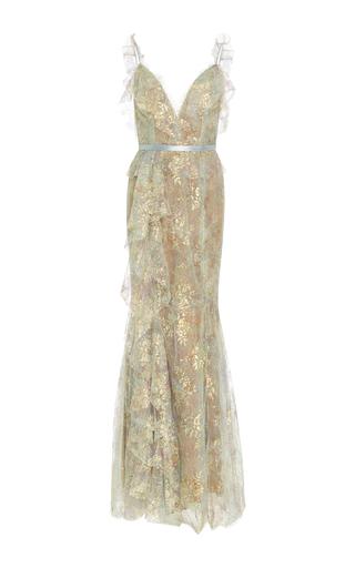Medium marchesa green iridescent lace gown