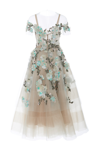 Off The Shoulder Tea Length Cocktail Dress by MARCHESA for Preorder on Moda Operandi