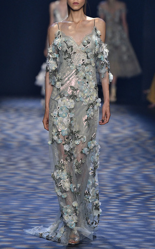 Floral Embroidered Beaded Gown by MARCHESA for Preorder on Moda Operandi