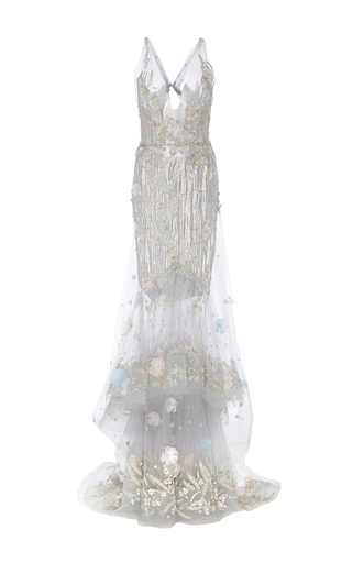 Medium marchesa silver deep v fit and flare gown