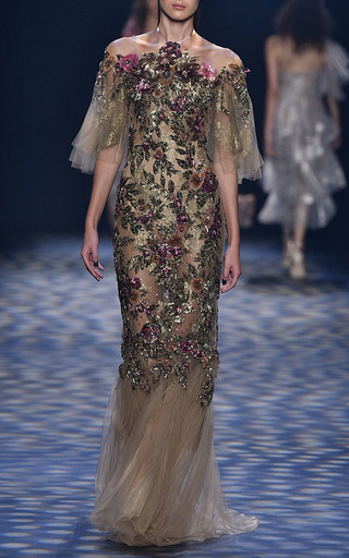 Halter Neck Fit And Flare Gown by MARCHESA for Preorder on Moda Operandi