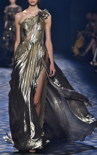 One Shoulder Grecian Gown by MARCHESA for Preorder on Moda Operandi