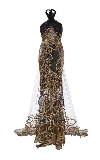 Medium marchesa black halter neck gown