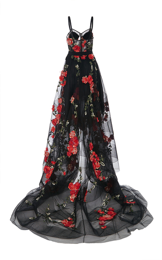 High Low Floral Embroidered Gown by MARCHESA for Preorder on Moda Operandi