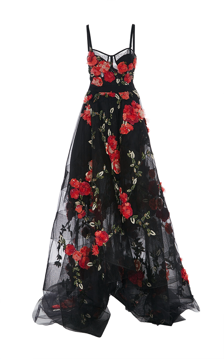 High Low Floral Embroidered Gown By Marchesa Moda Operandi