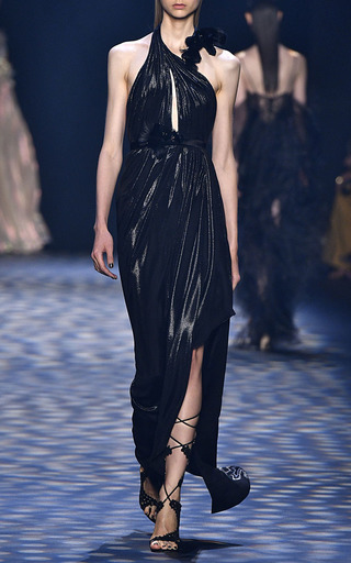 Halter Neck Grecian Gown by MARCHESA for Preorder on Moda Operandi