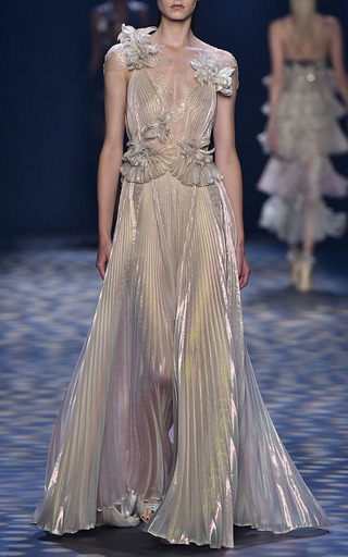 Pleated Grecian Gown by MARCHESA for Preorder on Moda Operandi