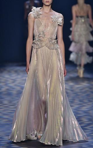 Medium marchesa metallic pleated grecian gown