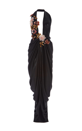 Medium marchesa black plunging neckline grecian gown
