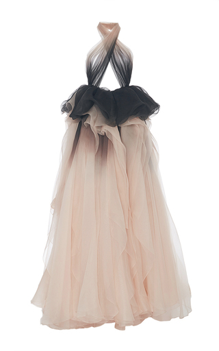 Medium marchesa multi ombre draped halter neck gown