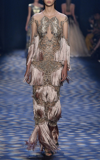 Tiered Silk Fringe Gown by MARCHESA for Preorder on Moda Operandi