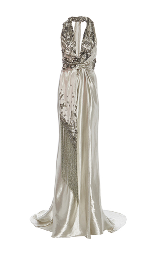 Medium marchesa silver halter neck colum gown