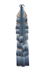 Tiered Fringe Column Gown by MARCHESA for Preorder on Moda Operandi