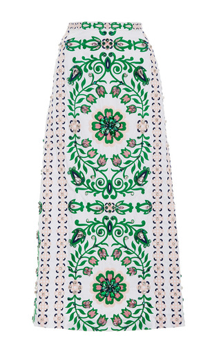 Medium tory burch print maine a line emroidered skirt
