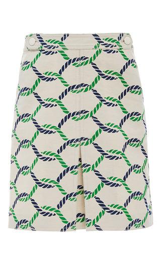 Medium tory burch print tab waist pleated pier skirt