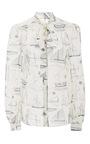 Sail Print Kia Bow Blouse  by TORY BURCH for Preorder on Moda Operandi