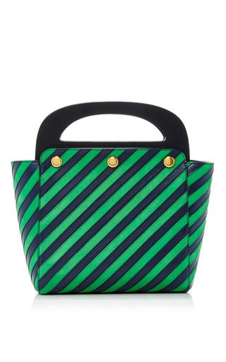 Medium tory burch green striped bermuda bag