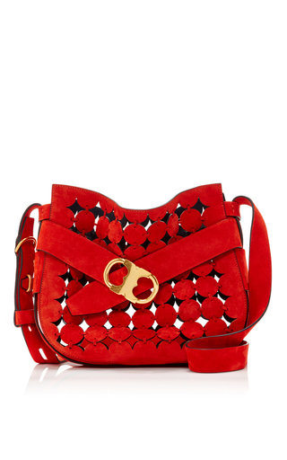 Gemini Link Suede Cut Out Small Shoulder Bag by TORY BURCH for Preorder on Moda Operandi