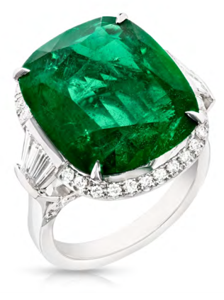 Fabergé Emerald Cushion Cut Ring by FABERGE for Preorder on Moda Operandi