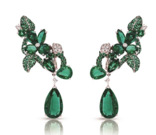 Foliage Emerald Earrings by FABERGE for Preorder on Moda Operandi