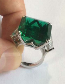 Emerald Cut Emerald Ring With Diamond Trilliants by FABERGE for Preorder on Moda Operandi