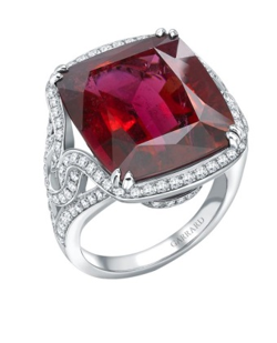 An 18ct White Gold Cocktail Ring Set With A Central Cushion Cut Rubellite And Surrounded With Round White Diamonds.   by GARRARD for Preorder on Moda Operandi