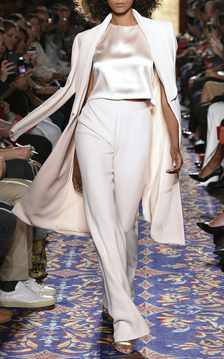 Heavy Georgette Piped Lapel Coat by BRANDON MAXWELL for Preorder on Moda Operandi
