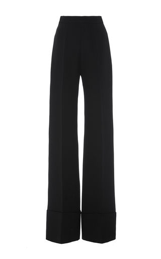 Medium brandon maxwell black heavy georgette wide cuff pant
