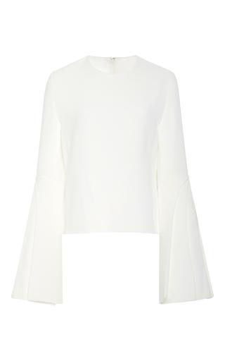 Medium brandon maxwell white heavy georgette bell sleeve top